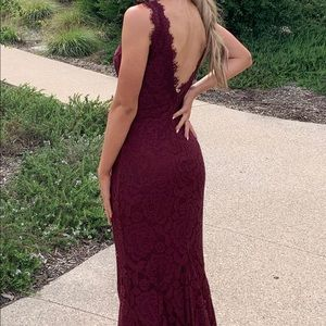 wine lace v neck mermaid gown